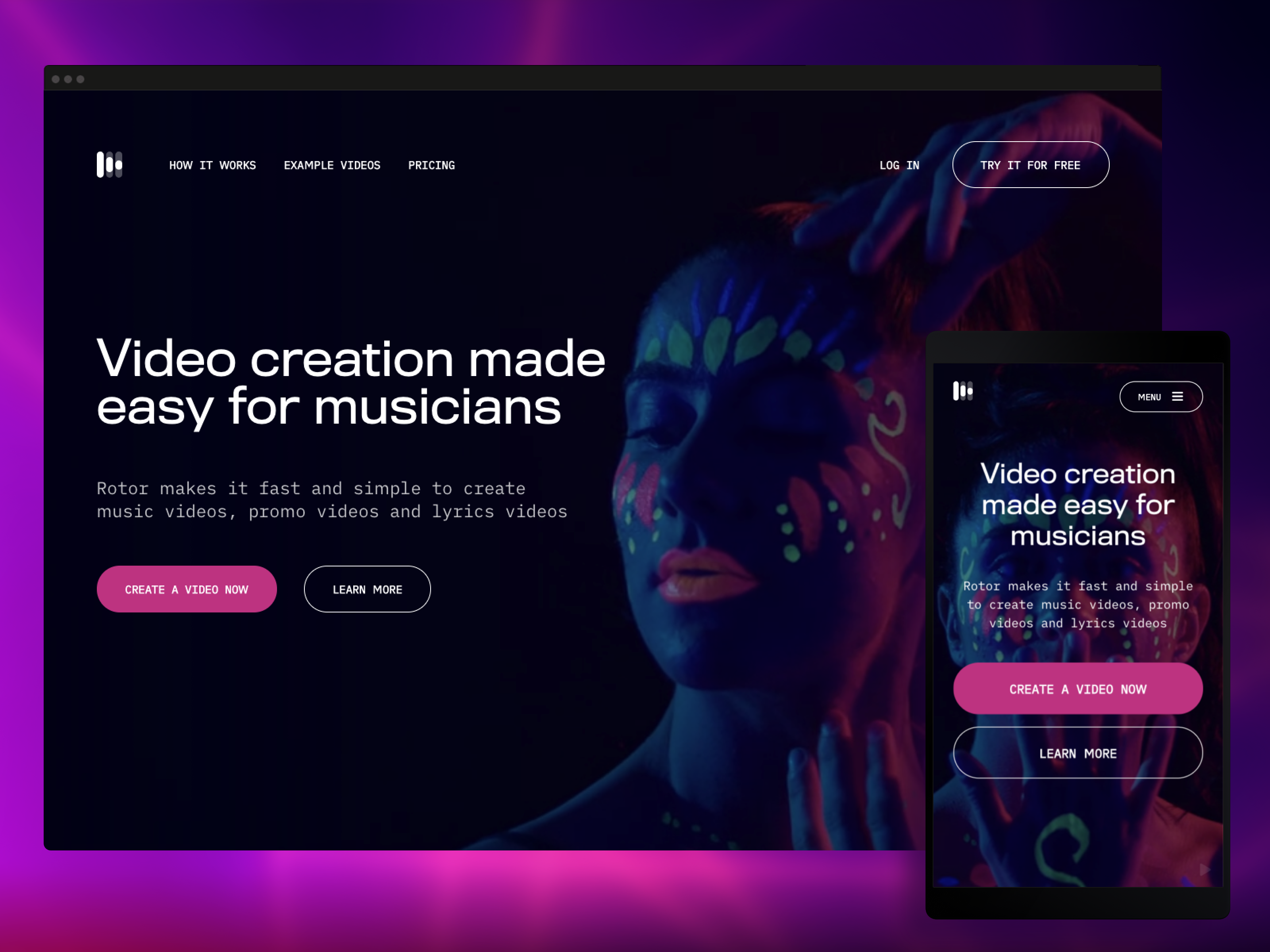 Rotor video homepage